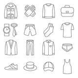 Mens clothes vector line icons set Stock Image