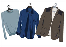 Mens clothing on hangers Royalty Free Stock Photography