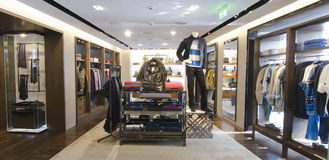 Mens clothing store. A luxury store with mens clothing Stock Photography