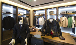 Mens clothing store. A luxury store with mens clothing Royalty Free Stock Photography
