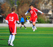 Mens club Soccer in the air. Stock Images