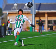 Mens club Soccer jumping Stock Photography