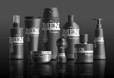 Mens Cosmetic Series Realistic Composition. Mens cosmetic series in black containers with brand identity realistic composition on dark background vector Royalty Free Stock Image