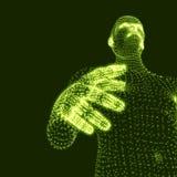 Mens 3D Model van de Mens Menselijk Lichaamsmodel Lichaamsaftasten Mening van Menselijk Lichaam Vectorgrafiek die uit Deeltjes wo Royalty-vrije Stock Foto