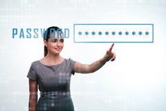 Mens in de digitale dringende knoop van het veiligheidsconcept royalty-vrije stock afbeelding