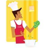Mens in de keuken stock illustratie