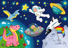 Mens in de ruimte. Stock Afbeelding