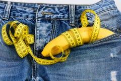 Free Mens Denim Pants With Banana Imitating Male Genitals, Close Up Stock Photos - 164614223