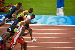 Mens di Olimpiadi uno sprint dei 100 tester Fotografia Stock Libera da Diritti