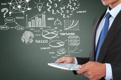 Mens die aan businessplan werken die tabletpc met behulp van Royalty-vrije Stock Afbeeldingen