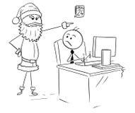 Mens die aan Computer tijdens Kerstmis werken Royalty-vrije Stock Foto's