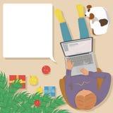 Mens die aan laptop thuis bij de Kerstboom werken stock illustratie