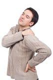 Mens die aan schouderpijn lijdt Royalty-vrije Stock Afbeelding