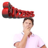 Mens die aan succes denken Stock Afbeelding