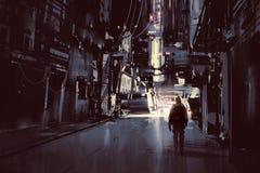 Mens die alleen in donkere stad lopen stock illustratie