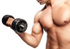 Mens die bicepsen toont Stock Foto