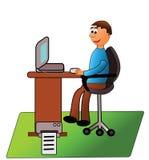 Mens die bij computer werkt. Royalty-vrije Stock Afbeelding