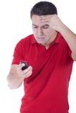 Mens die bij de telefoon schreeuwt Royalty-vrije Stock Afbeeldingen