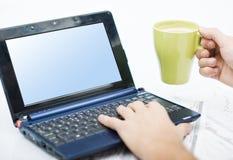 Mens die bij laptop werkt Stock Afbeelding