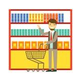 Mens die bij supermarkt met boodschappenwagentje en het kopen producten winkelen Winkelend in kruidenierswinkelopslag, supermarkt stock illustratie