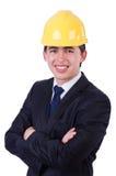 Mens die bouwvakker dragen Stock Foto