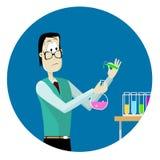 Mens die chemisch experiment doen Royalty-vrije Stock Foto's