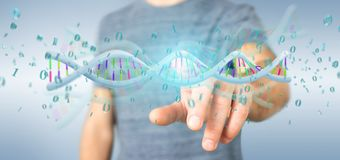 Mens die 3d teruggevende gegevens gecodeerd houden DNA met binair dossier aroun Stock Foto