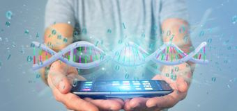 Mens die 3d teruggevende gegevens gecodeerd houden DNA met binair dossier aroun Stock Foto's