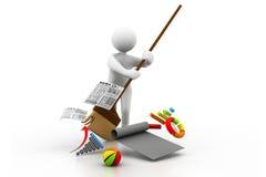 Mens die de bedrijfsgrafiek schoonmaken Vector Illustratie