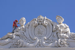 Mens die de historische bouw in Merida Mexico schilderen Royalty-vrije Stock Afbeelding
