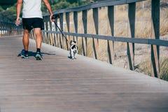 Mens die de hond in een houten voetbrug lopen door het strand Stock Afbeeldingen