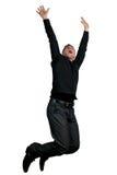 Mens die in de lucht springt Stock Foto