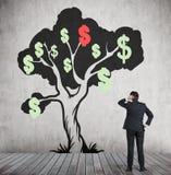 Mens die de schets van de dollarboom bekijken Stock Afbeelding