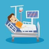 Mens die in de vectorillustratie van het het ziekenhuisbed liggen Stock Afbeelding