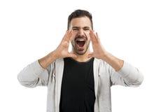 Mens die door de handen schreeuwen royalty-vrije stock afbeeldingen