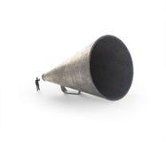 Mens die door een uitstekende megafoon spreken Stock Foto's