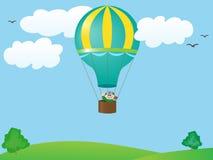 Mens die in een ballon vliegt Royalty-vrije Stock Foto's