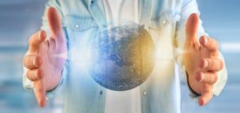 Mens die een 3d het teruggeven bol van de deeltjesaarde houden Stock Foto