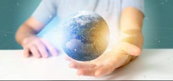 Mens die een 3d het teruggeven bol van de deeltjesaarde houden Royalty-vrije Stock Afbeeldingen
