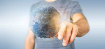 Mens die een 3d het teruggeven bol van de deeltjesaarde houden Royalty-vrije Stock Fotografie