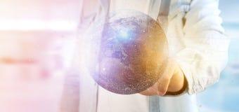 Mens die een 3d het teruggeven bol van de deeltjesaarde houden Stock Afbeeldingen