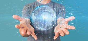 Mens die een 3d het teruggeven bol van de gegevensaarde houden Stock Foto