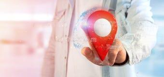 Mens die een 3d het teruggeven speldhouder op een bol met coördinaat houden Stock Fotografie
