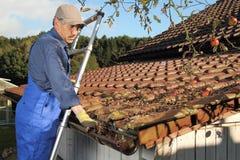 Mens die een dakgoot op een ladder schoonmaken stock afbeelding
