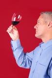 Mens die een glas rode wijn controleert stock fotografie