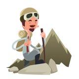 Mens die een het beeldverhaalkarakter van de bergillustratie gaan beklimmen Stock Afbeelding
