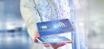 Mens die een het concepten 3d renderi houden zonder contact van de creditcardbetaling Stock Fotografie