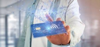 Mens die een het concepten 3d renderi houden zonder contact van de creditcardbetaling Stock Afbeeldingen
