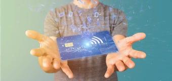Mens die een het concepten 3d renderi houden zonder contact van de creditcardbetaling Royalty-vrije Stock Foto
