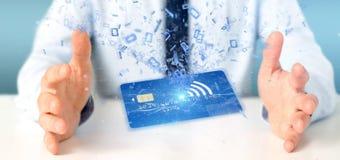 Mens die een het concepten 3d renderi houden zonder contact van de creditcardbetaling Royalty-vrije Stock Afbeelding